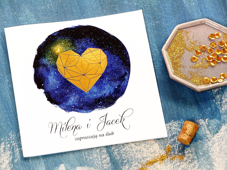 Zaproszenia ślubne ze złoceniem z kolekcji Księżycowa Noc