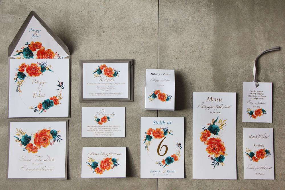 Zaproszenia ślubne wraz z dodaktami oraz podziękowanimi dla gości weselnych
