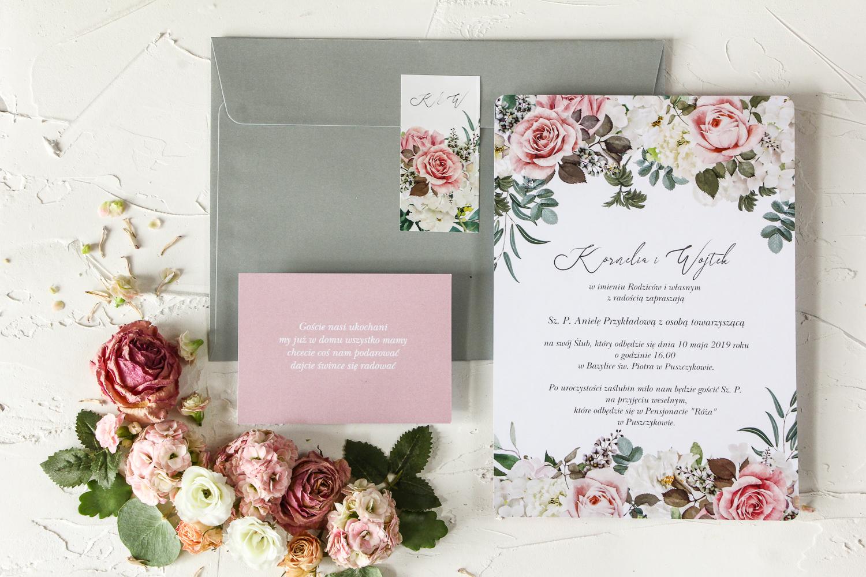 Kwiatowe, jednokartkowe zaproszenia ślubne z kolekcji Wenis