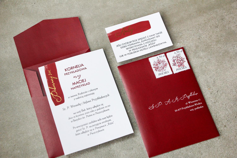 Klasyczne Zaproszenia Ślubne ze złoceniem z kolekcji Verte