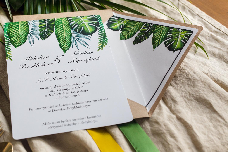 Zaproszenie ślubne ze złoceniem w ekologicznej kopercie w stylu Greenery