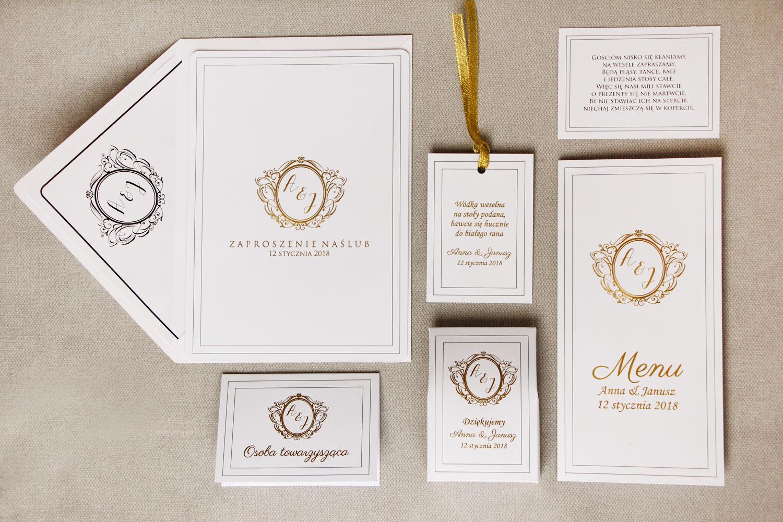 Zestaw próbkowy zaproszeń ślubnych ze złoceniem wraz z winietkami, zawieszkami,  podziękowania dla gości