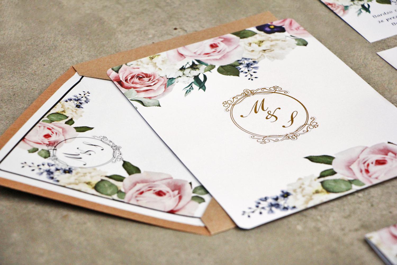 Zaproszenia ślubne ze złoceniem w ekologicznej kopercie