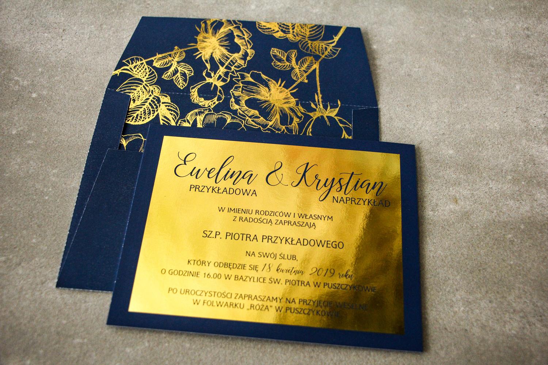 Złote zaproszenia ślubne w stylu Glamour - Brilant