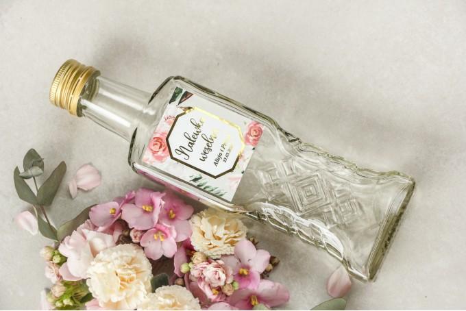 Butelki na nalewki - Podziękowania dla gości weselnych