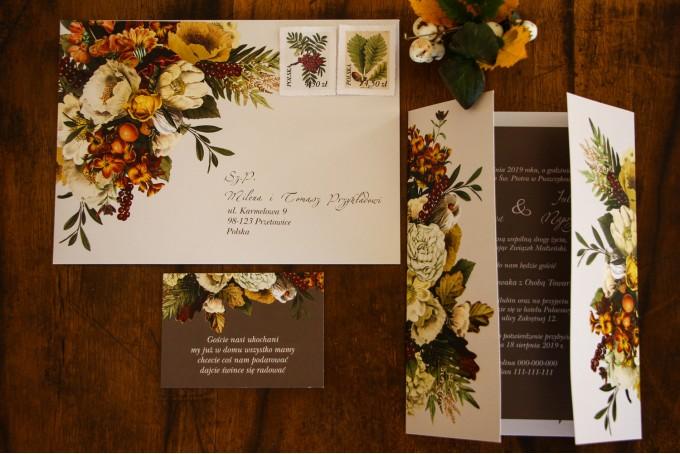 Jesienne, botaniczne zaproszenia ślubne z kolekcji Eteryczne