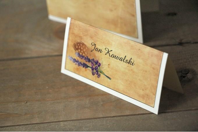 Ślubne winietki, wizytówki na stół weselny z kolekcji Karmelowe
