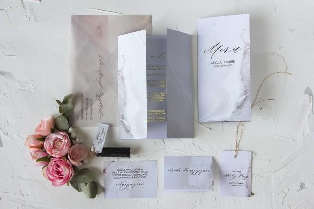 Zaproszenia ślubne z kolekcji Marmurowa